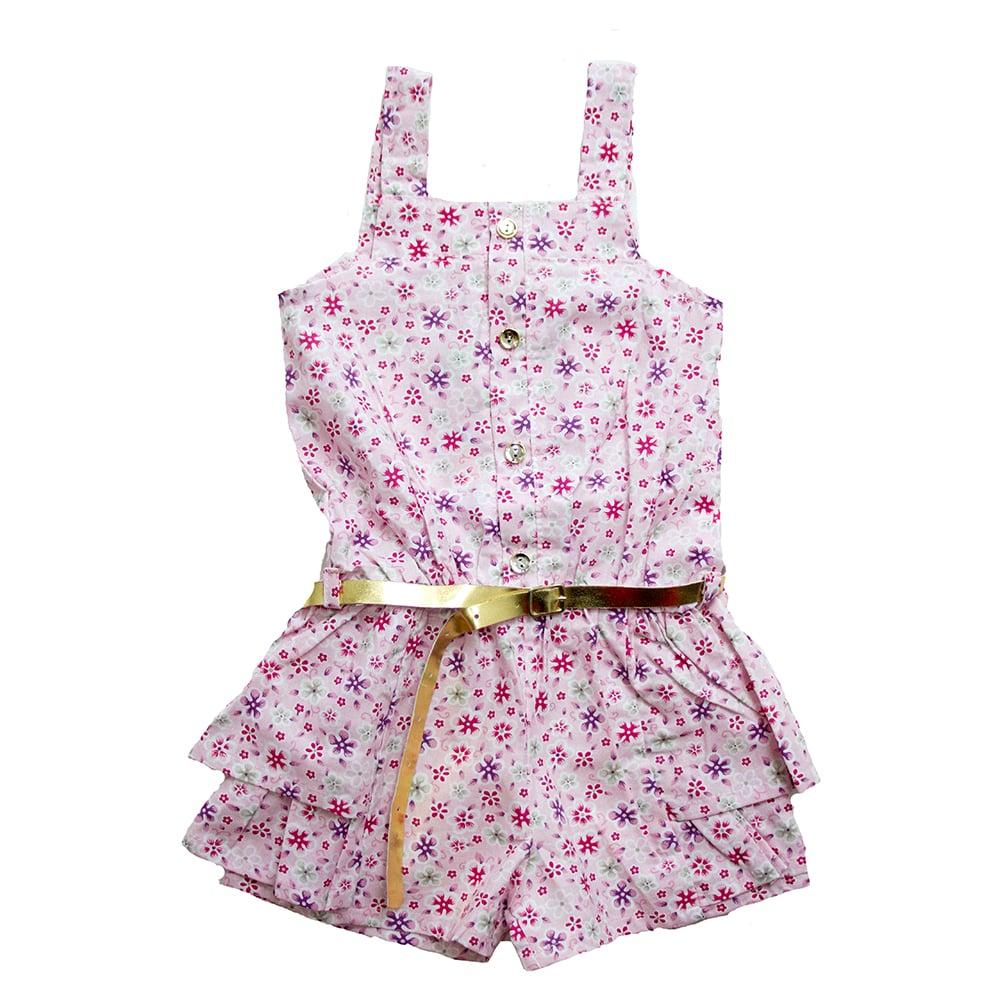 Macaquinho Infantil Floral Rosa  - Jeito Infantil
