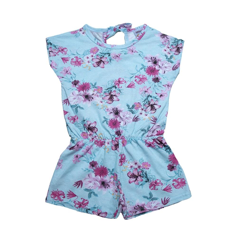 Macaquinho Infantil Flores Azul  - Jeito Infantil