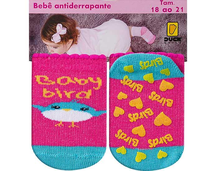 Meia Bebê Antiderrapante Bird Pink  - Jeito Infantil