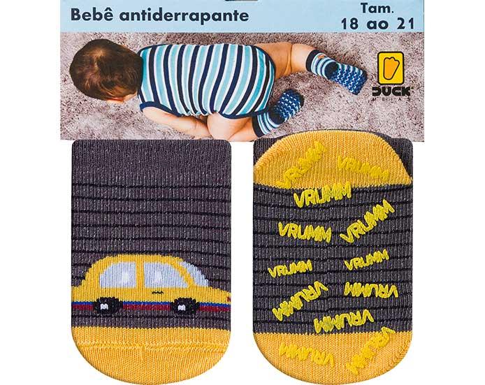Meia Bebê Antiderrapante Carrinho Grafite  - Jeito Infantil