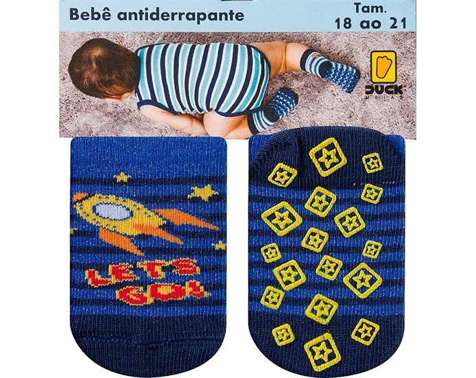 Meia Bebê Antiderrapante Foguete Azul  - Jeito Infantil