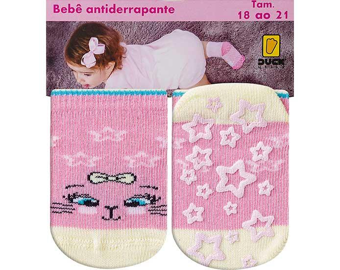 Meia Bebê Antiderrapante Gatinha Rosa  - Jeito Infantil
