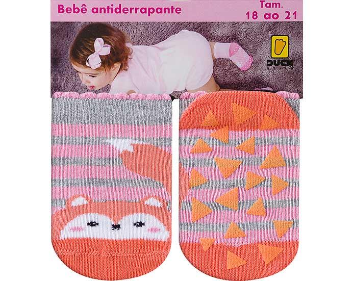 Meia Bebê Antiderrapante Raposa e Listras Rosa  - Jeito Infantil