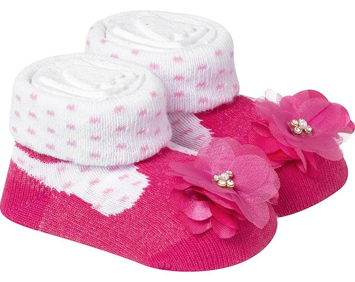Meia Divertida Bebê Flor Pink E Branco  - Jeito Infantil