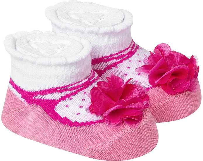 Meia Divertida Bebê Florzinhas Rosa  - Jeito Infantil