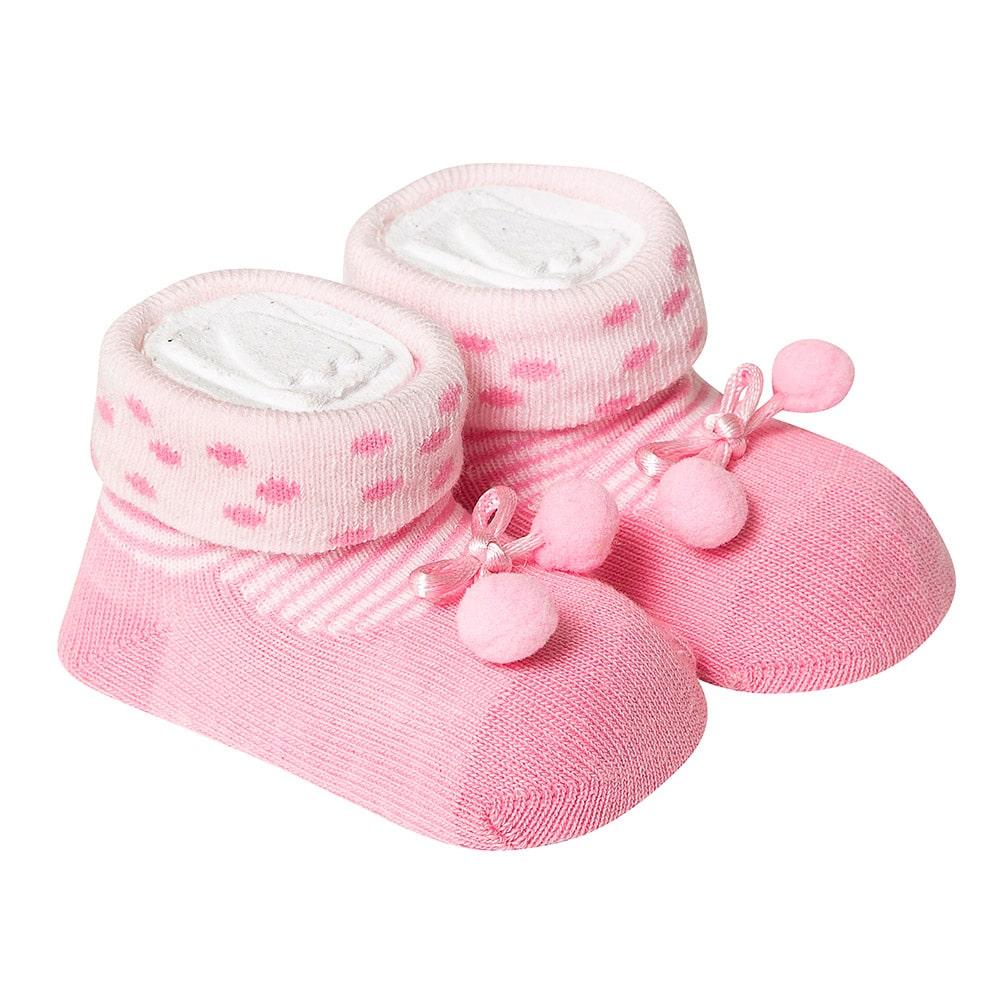 Meia Divertida Bebê Laço Pompom Rosa  - Jeito Infantil