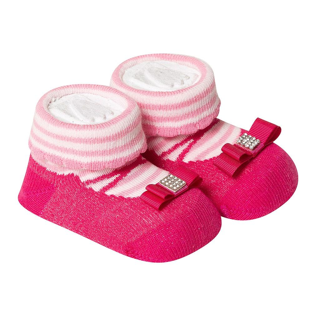 Meia Divertida Bebê Laço Strass Pink  - Jeito Infantil