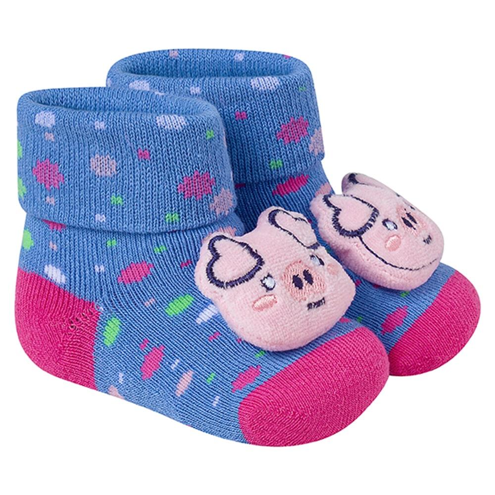 Meia Divertida Bebê Pig Azul  - Jeito Infantil