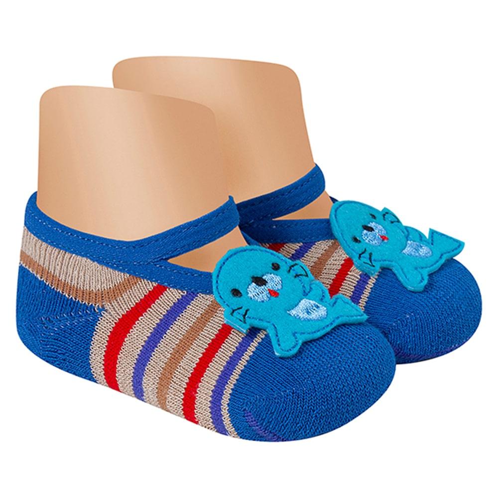 Meia Sapatilha Antiderrapante Foquinha Azul  - Jeito Infantil