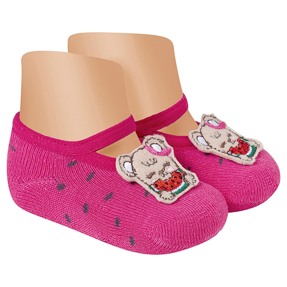 Meia Sapatilha Antiderrapante Ursinha Pink  - Jeito Infantil