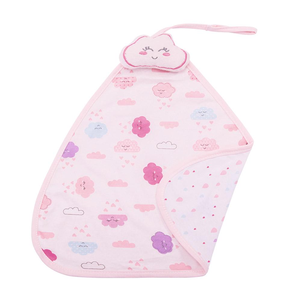 Naninha Bebê Com Prendedor de Chupeta Nuvem Rosa  - Jeito Infantil