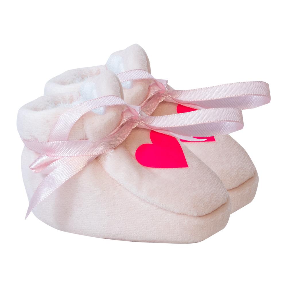 Pantufa Bebê Coração Rosa  - Jeito Infantil