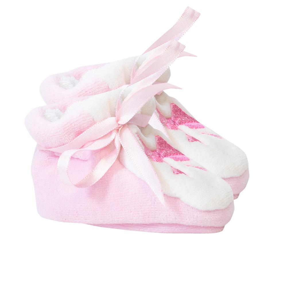 Pantufa Bebê Laço Rosa  - Jeito Infantil