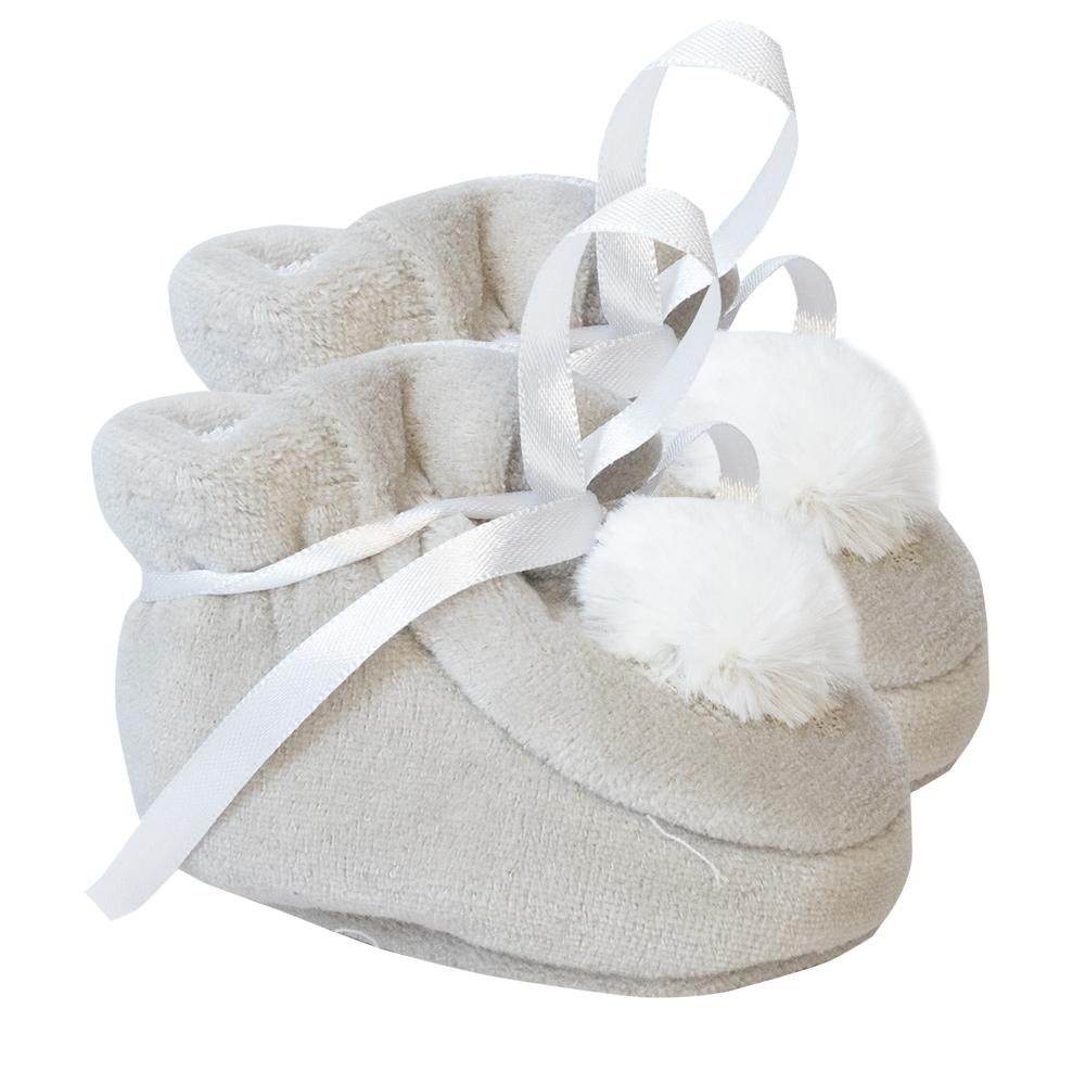 Pantufa Bebê Pompom Cinza  - Jeito Infantil