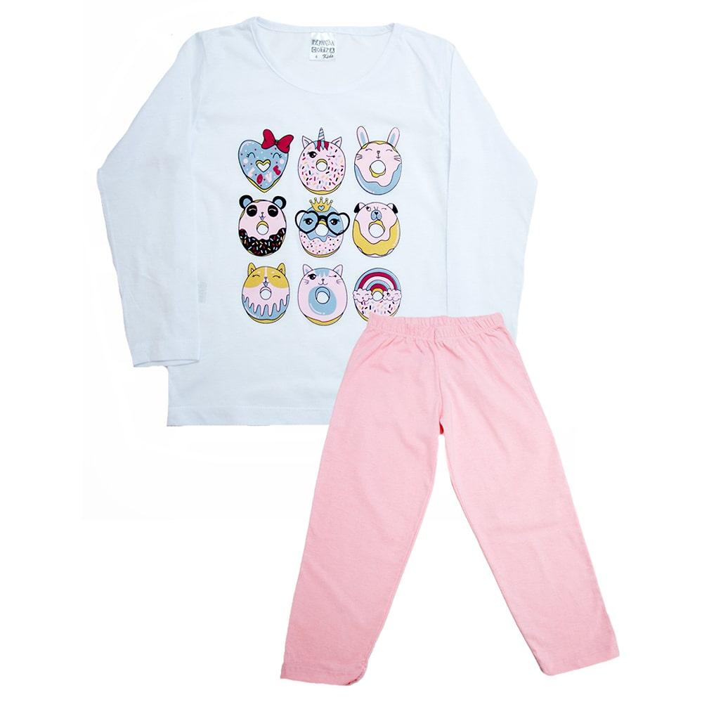 Pijama Infantil Biscoito Branco Com Rosa  - Jeito Infantil