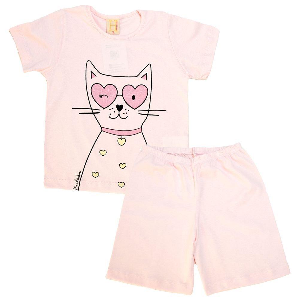 Pijama Infantil Cat Rosa  - Jeito Infantil