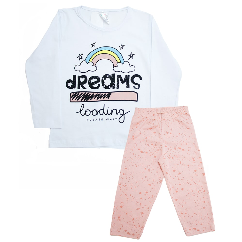 Pijama Infantil Dreams Branco Com Salmão  - Jeito Infantil
