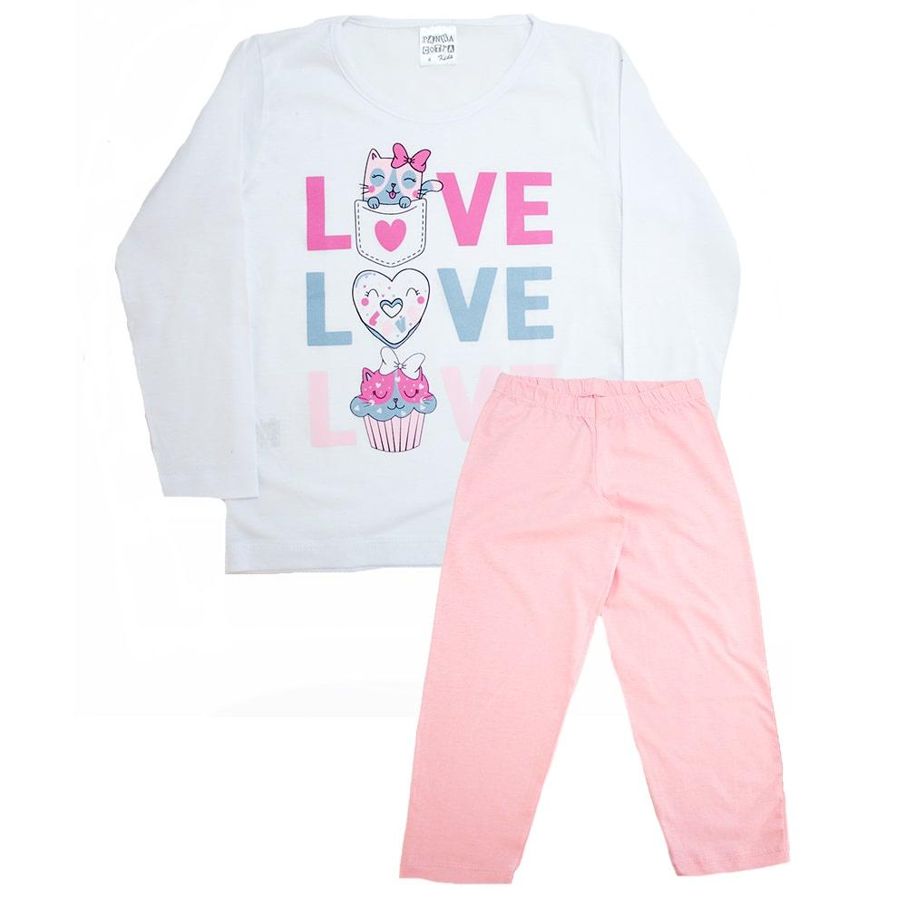Pijama Infantil Love Branco Com Rosa  - Jeito Infantil
