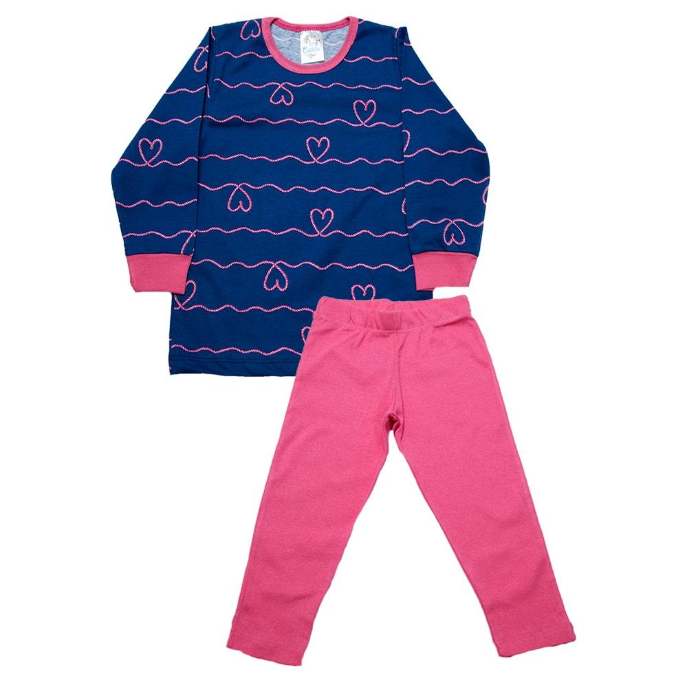 Pijama Infantil Menina Coração Azul  - Jeito Infantil