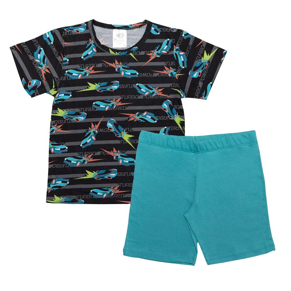 Pijama Infantil Menino Carros Preto  - Jeito Infantil