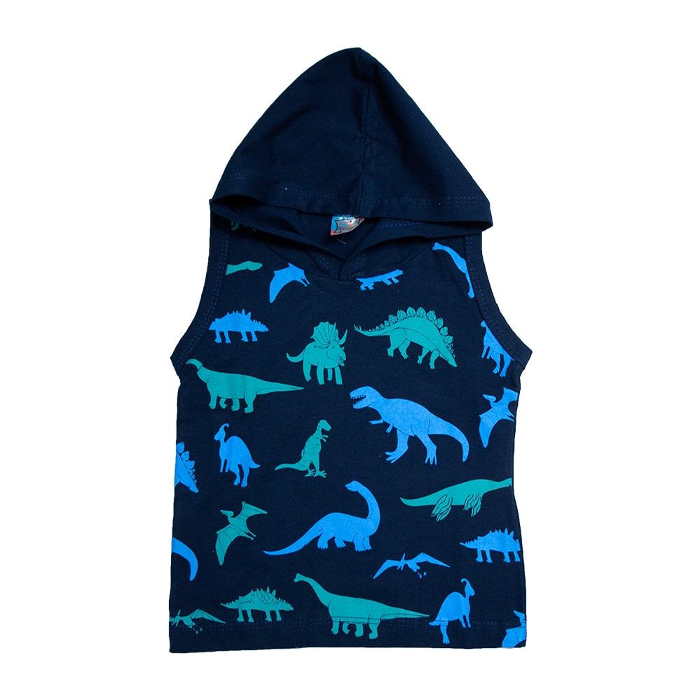 Regata Infantil Dino Com Capuz Marinho  - Jeito Infantil