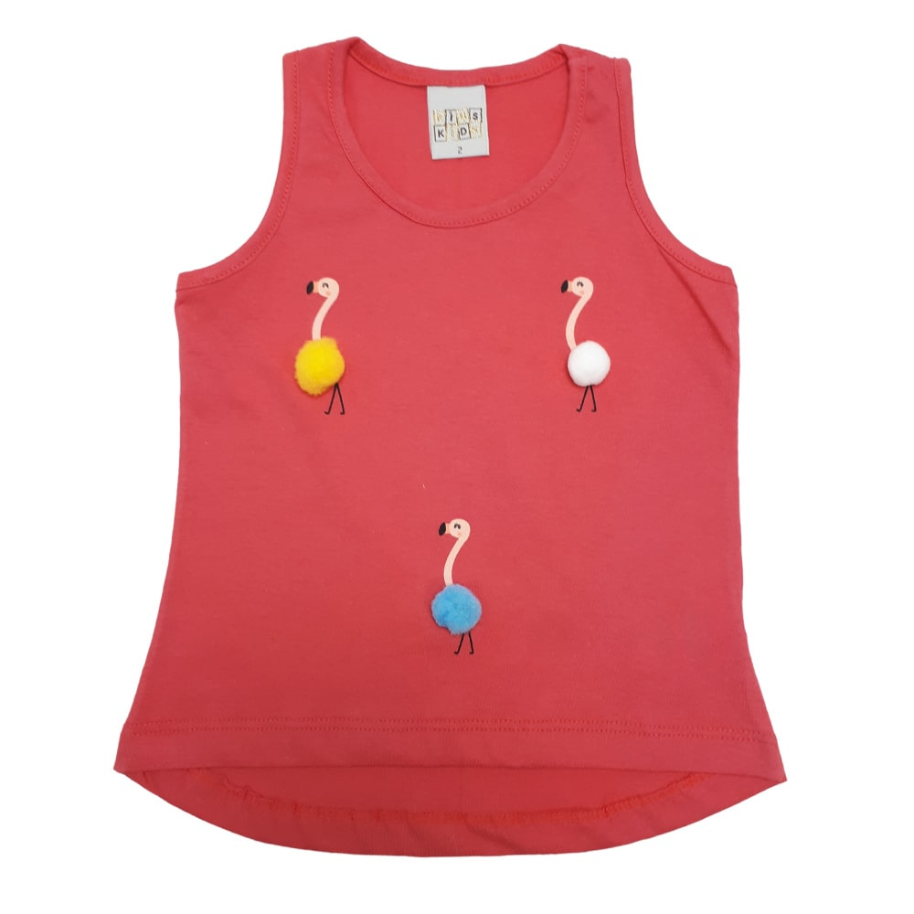 Regata Infantil Flamingo Pompom Salmão  - Jeito Infantil