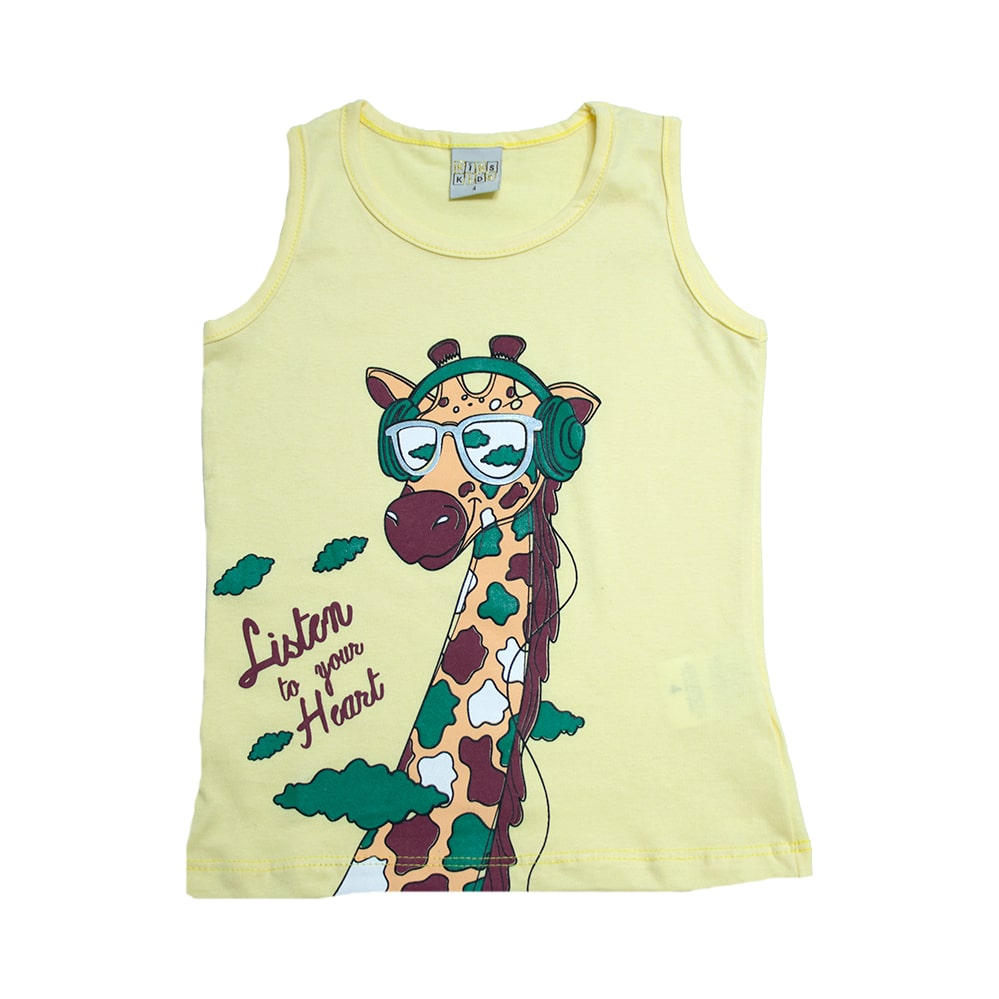 Regata Infantil Girafa Amarela  - Jeito Infantil