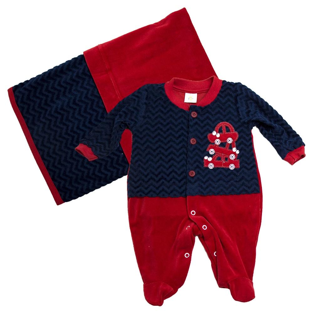 Saída De Maternidade Carrinhos Marinho Com Vermelho  - Jeito Infantil