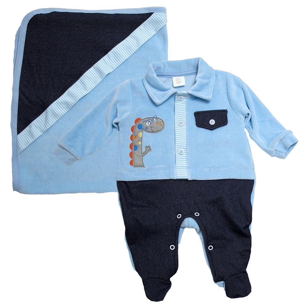 Saída De Maternidade Dino Azul  - Jeito Infantil