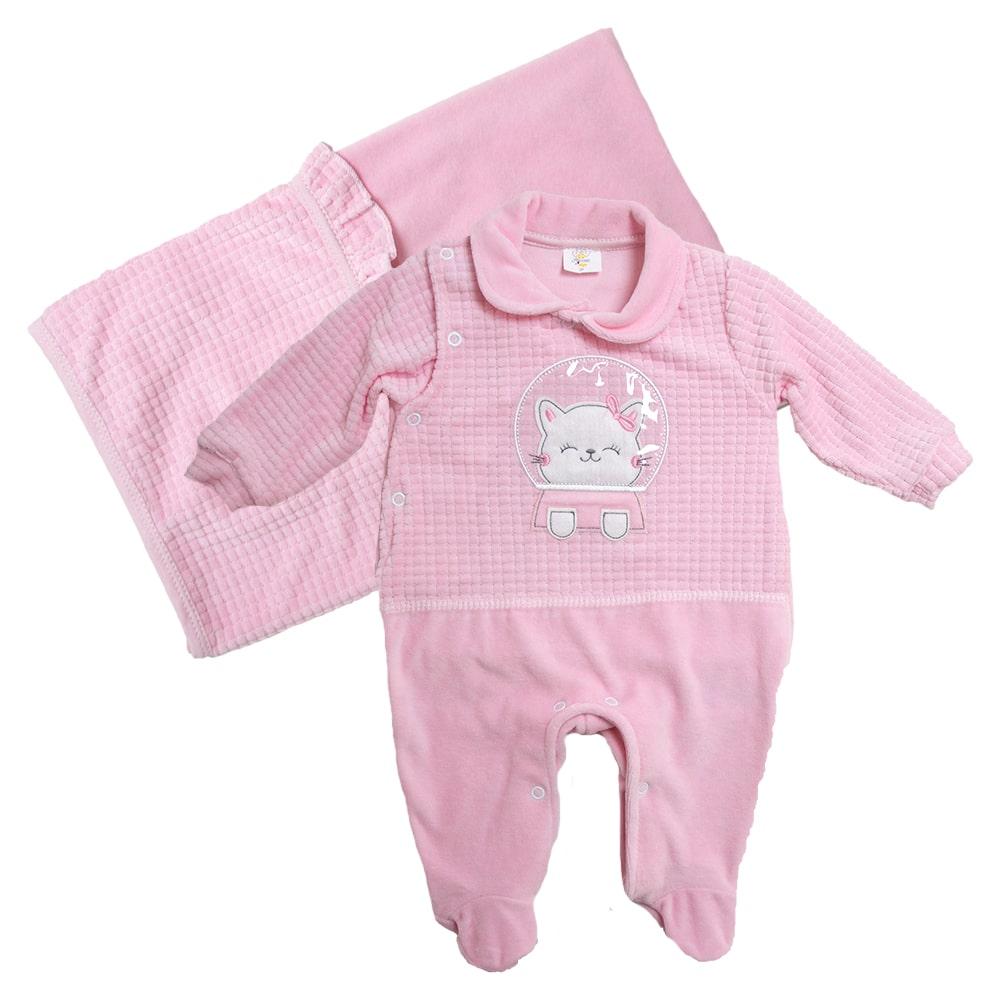 Saída De Maternidade Gatinha  Rosa  - Jeito Infantil