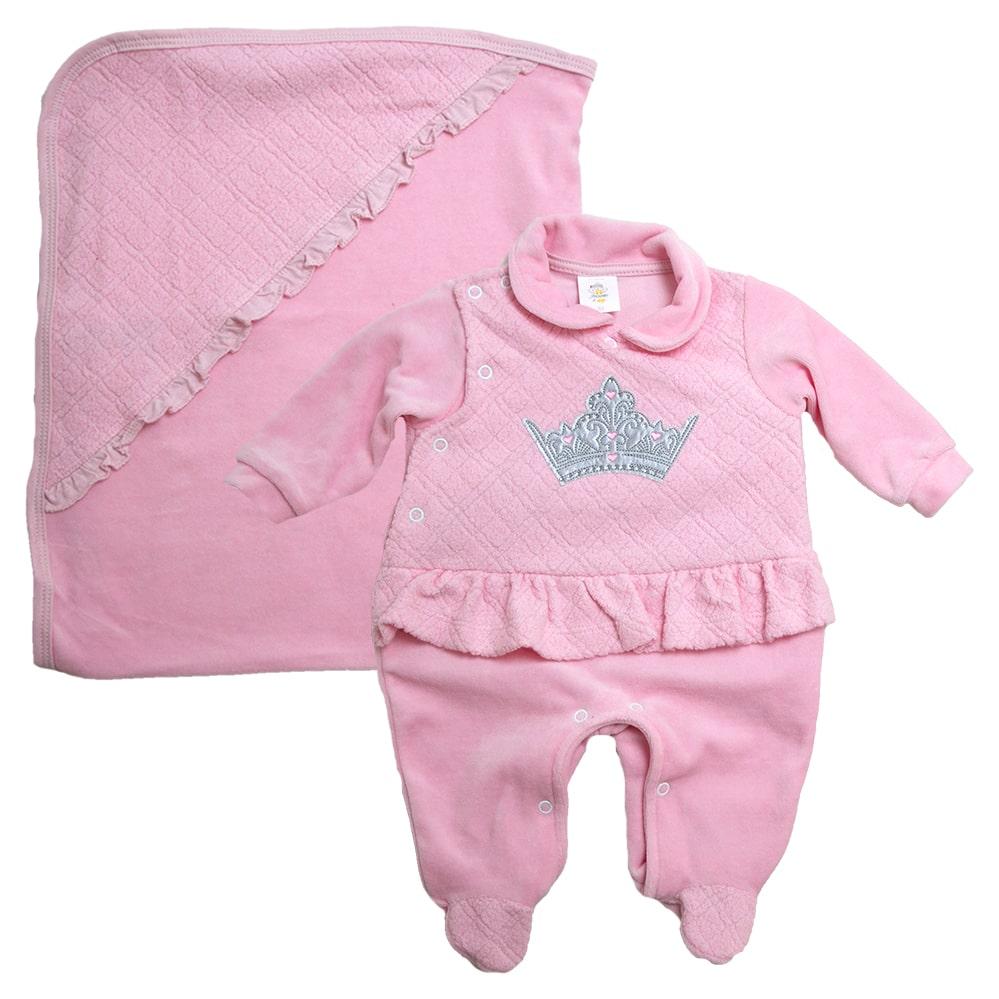 Saída De Maternidade Princess Rosa  - Jeito Infantil