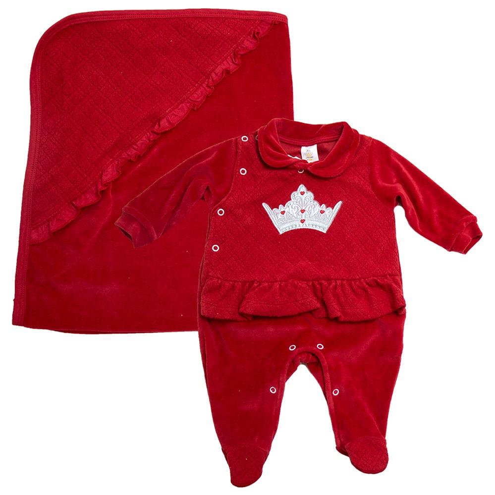 Saída De Maternidade Princess Vermelho  - Jeito Infantil