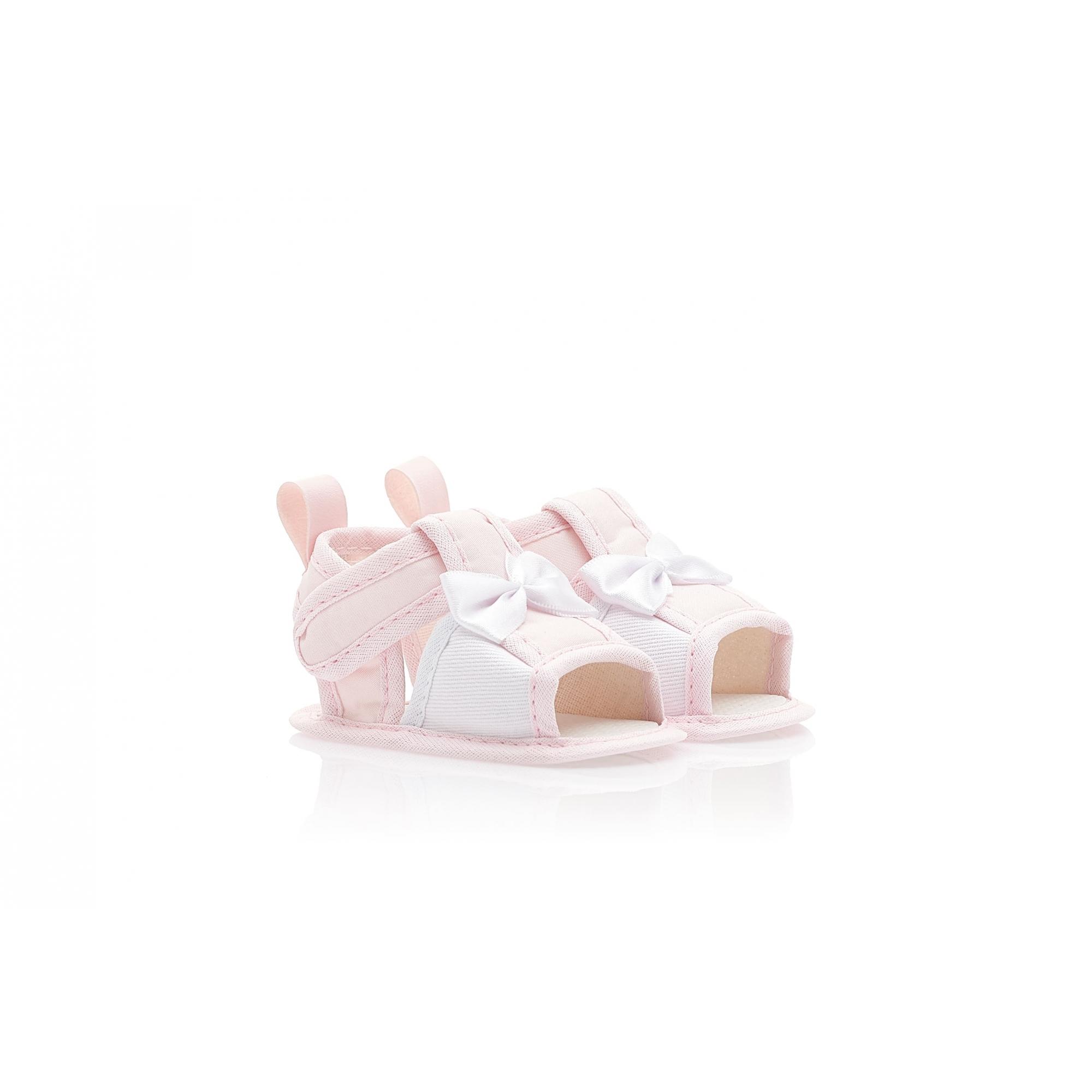 Sandália Bebê Laço Cetim Rosa  - Jeito Infantil