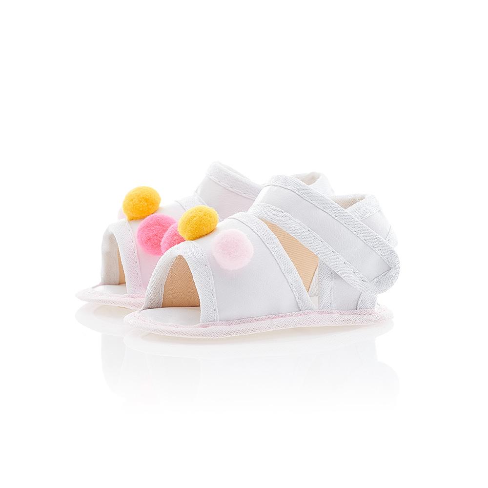 Sandália Bebê Pompom Branca  - Jeito Infantil