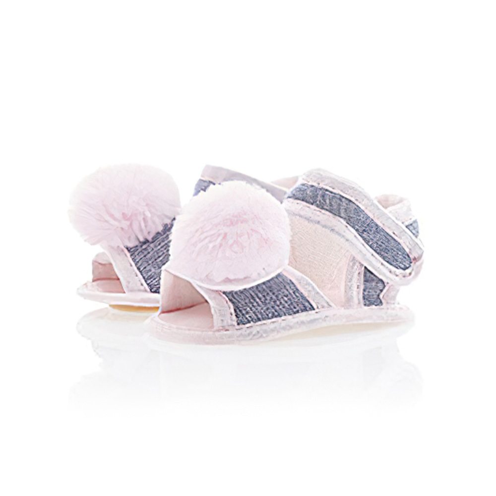Sandália Bebê PomPom Rosa  - Jeito Infantil