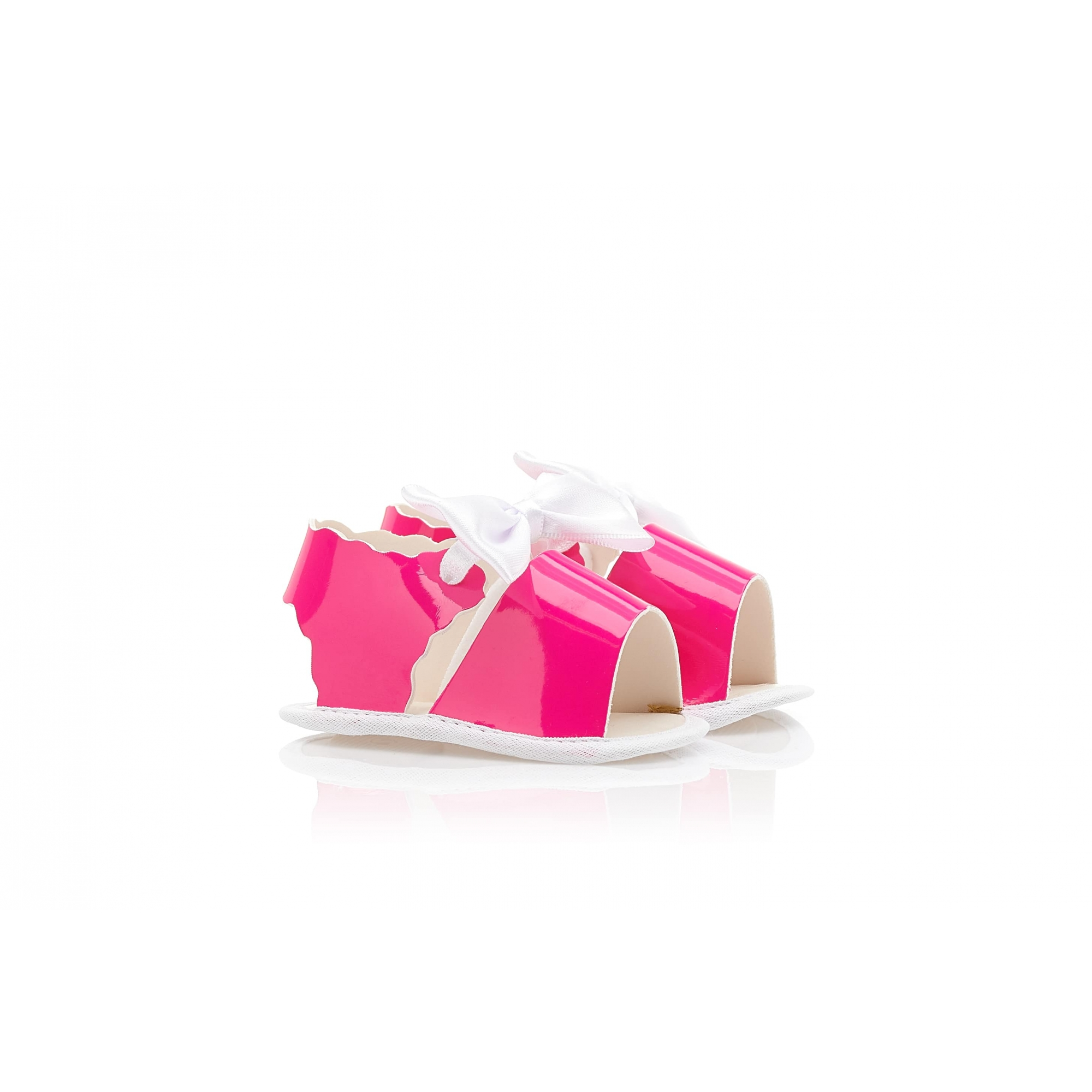 Sandália Bebê Verniz Baby Gut Rosa Neon  - Jeito Infantil