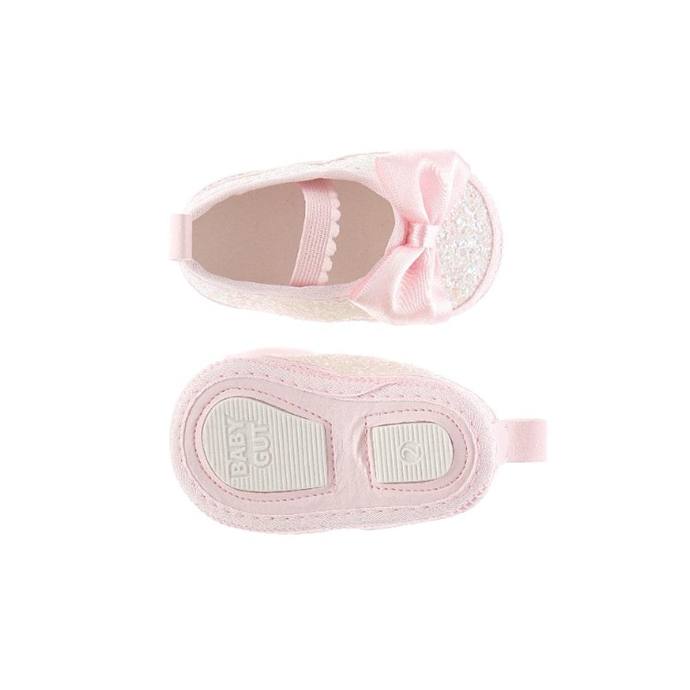 Sapatilha Bebê Com Brilho e Laço Baby Gut Rosa  - Jeito Infantil