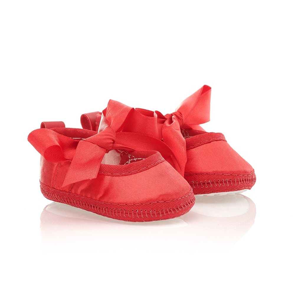 Sapatilha Bebê Com Fita Cetim Baby Gut Vermelha  - Jeito Infantil