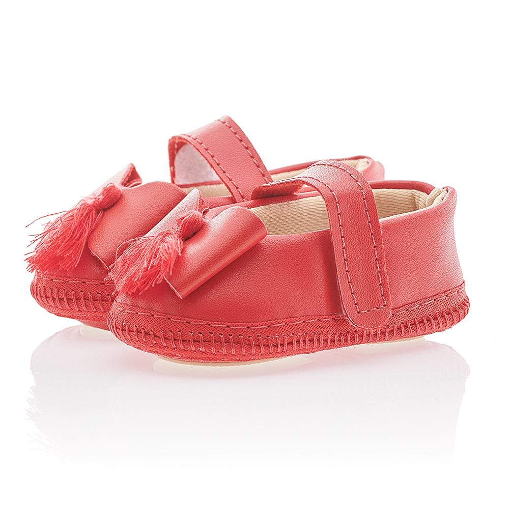 Sapatilha Bebê Com Fita Cetim Vermelha  - Jeito Infantil