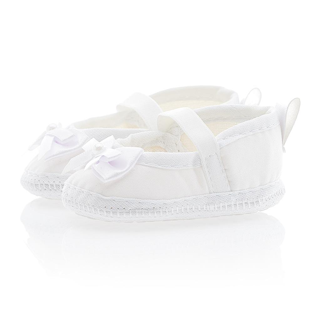 Sapatilha Bebê Com Laço Branca  - Jeito Infantil