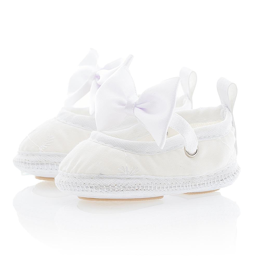 Sapatilha Bebê Com Laço Branco  - Jeito Infantil