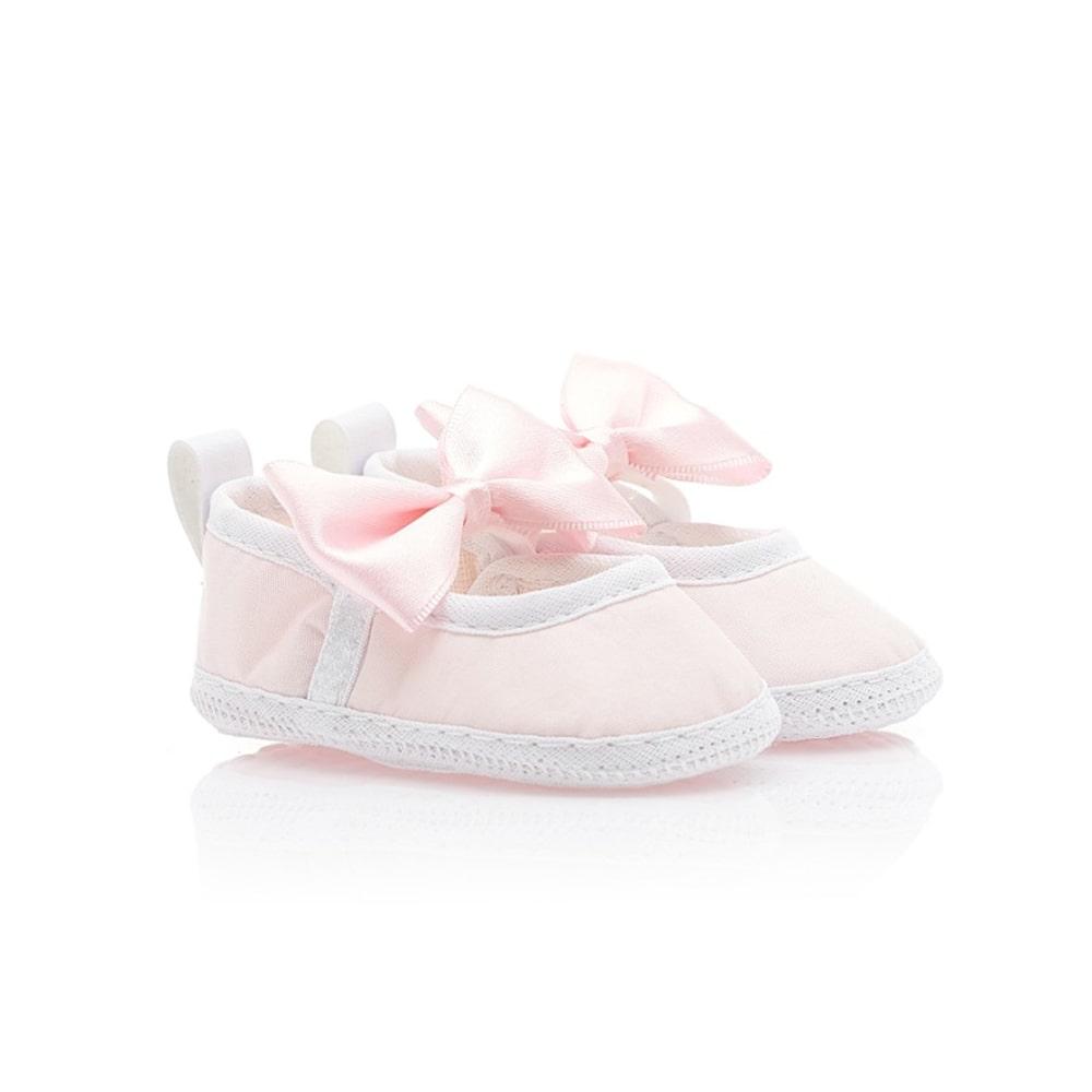 Sapatilha Bebê Com Laço Rosa  - Jeito Infantil