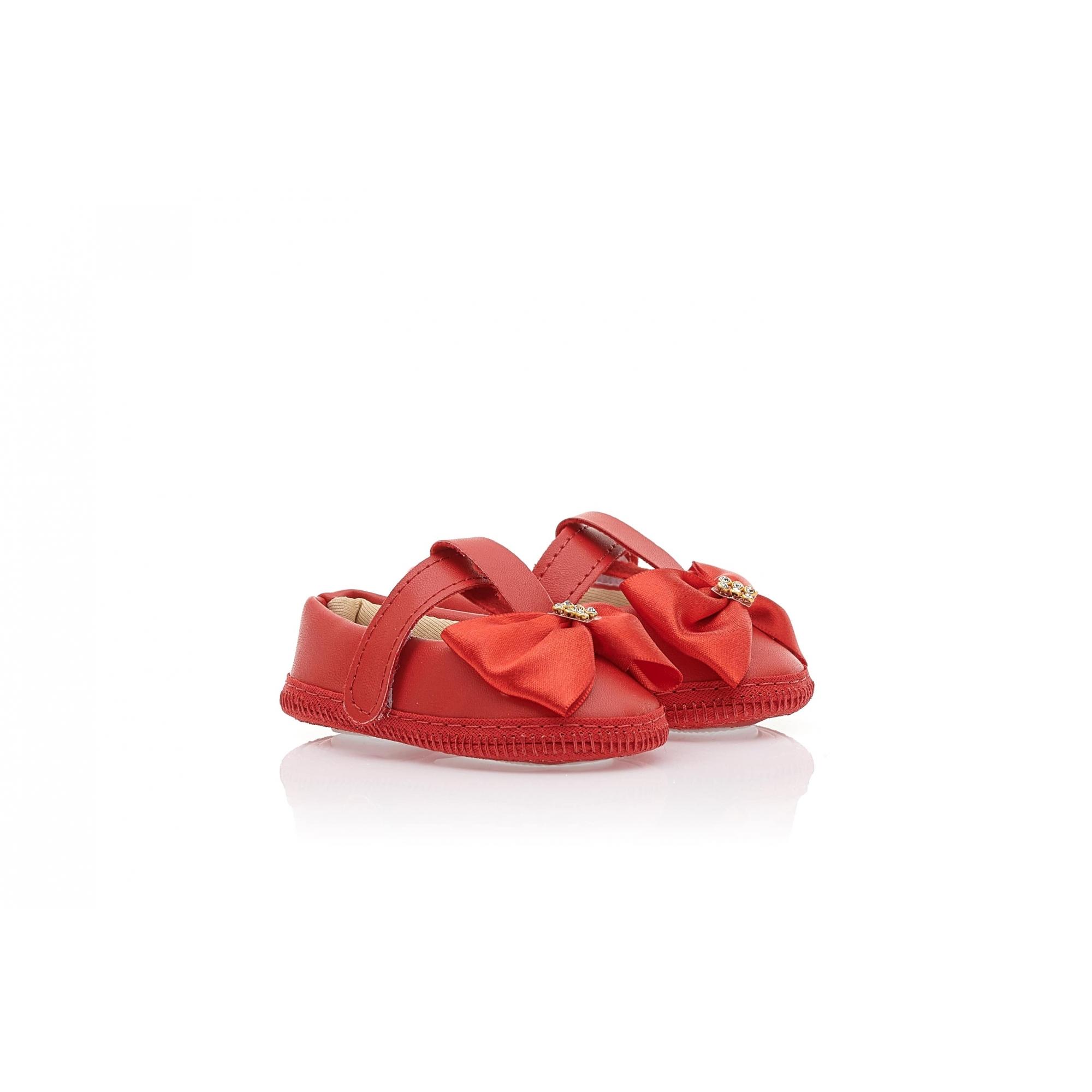 Sapatilha Bebê Com Laço Vermelha  - Jeito Infantil