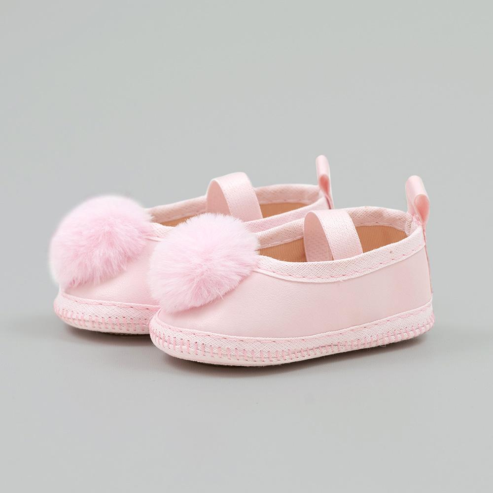 Sapatilha Bebê Com Pompom Rosa  - Jeito Infantil