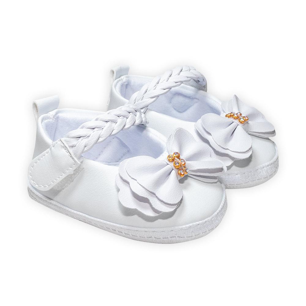 Sapatilha Bebê Trança Branco  - Jeito Infantil