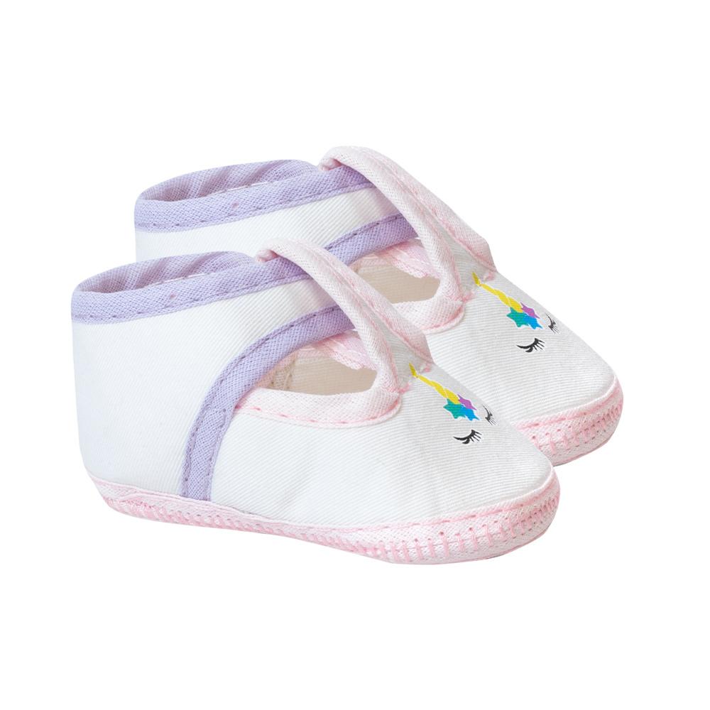 Sapatilha Bebê Unicórnio Branca  - Jeito Infantil