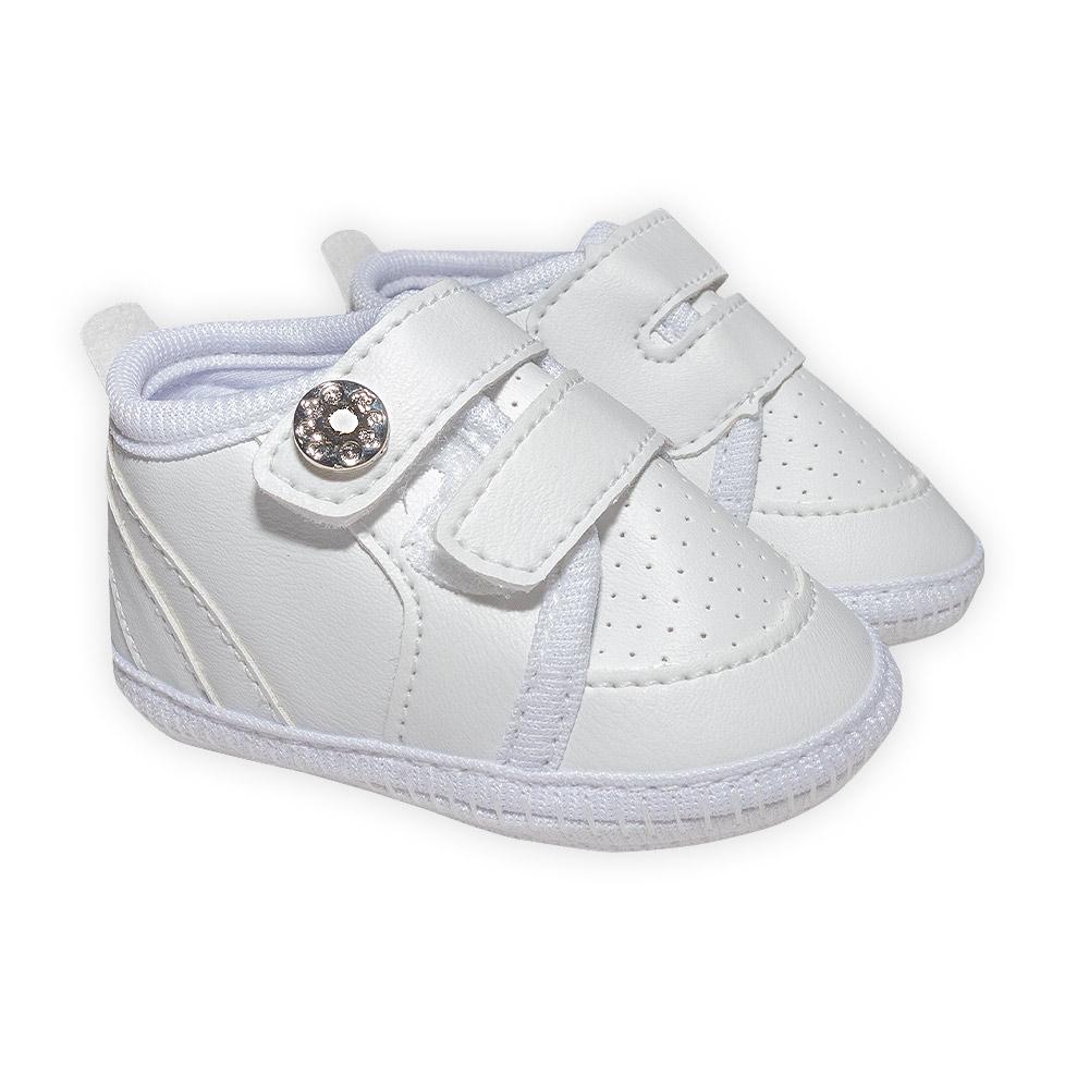 Sapatinho Bebê Com Velcro Branco  - Jeito Infantil