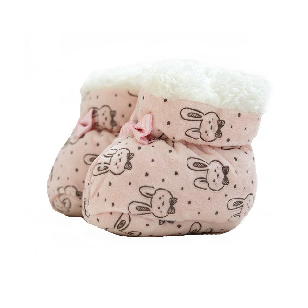 Sapatinho Pantufa Bebê Coelhinho Rosê  - Jeito Infantil