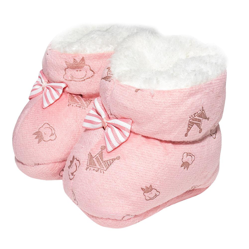Pantufa Bebê Coroa Rosa  - Jeito Infantil
