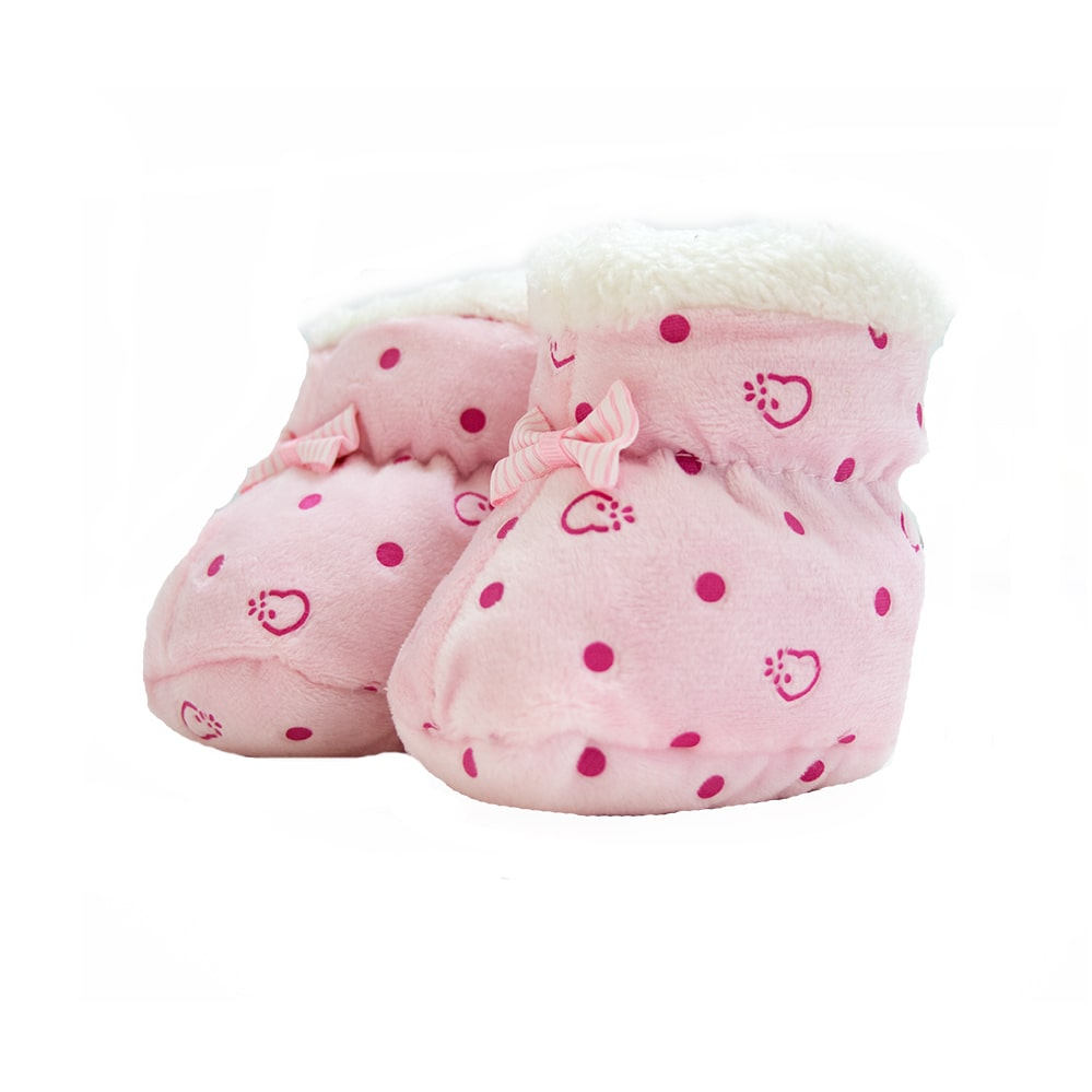 Pantufa Bebê Poá Rosa  - Jeito Infantil